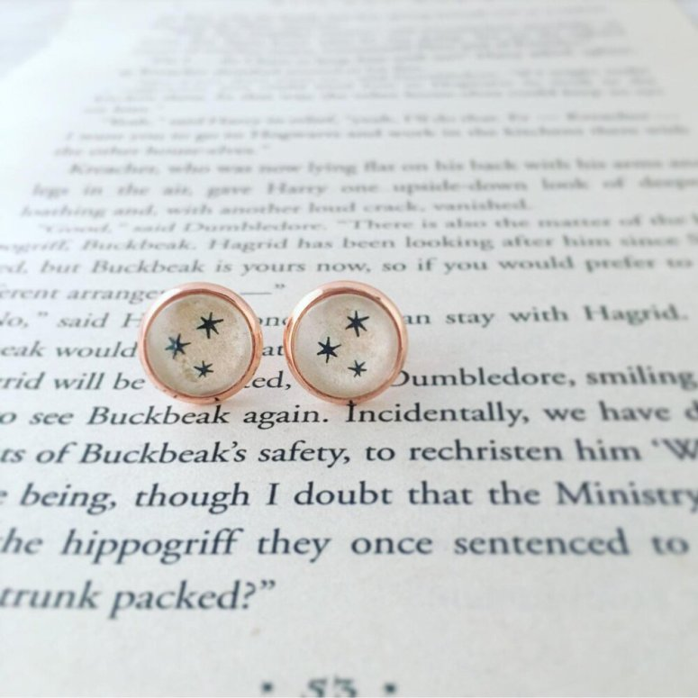 Harry Potter earrings recycled book chapter stars - from gabigabiheyshop
