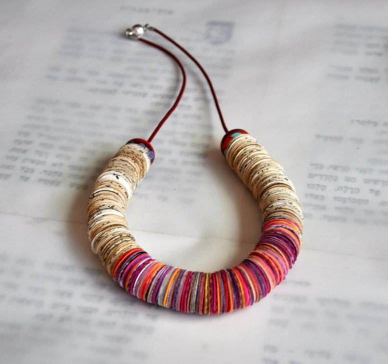 Red,Pink,Orange,Yellow,White paper necklace - from My PaperTale